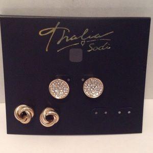 Thalia Sodi Gold Tone Earrings 2 Pair
